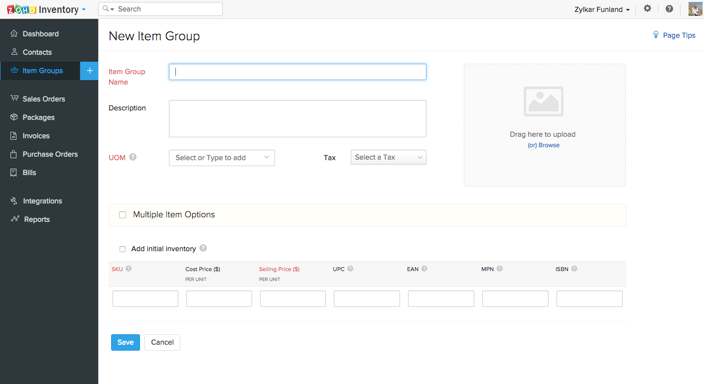 Zoho Inventory Software - New item group