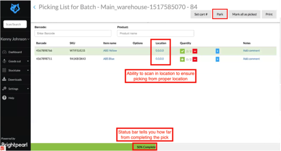 Brightpearl Software - Brightpearl location scanning