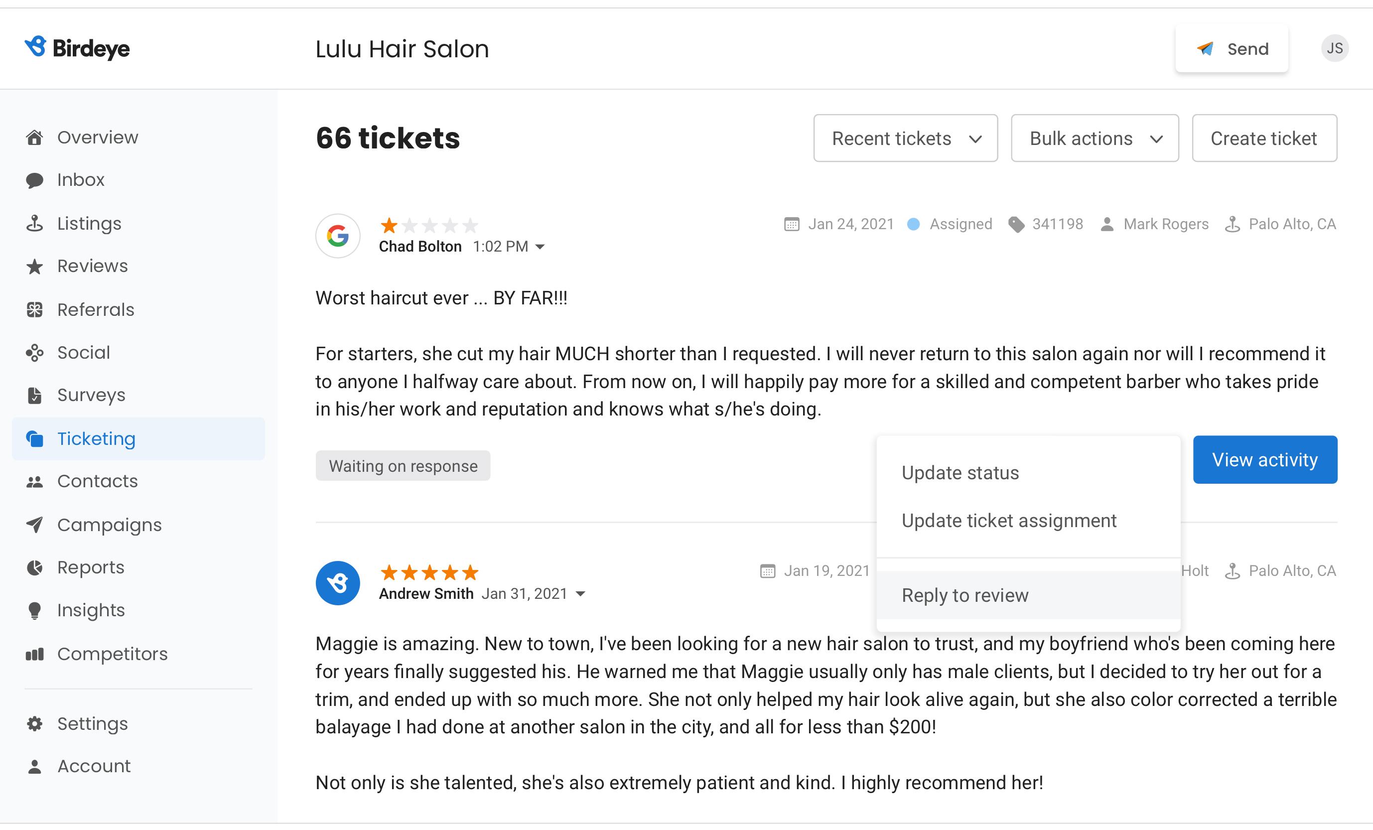 Birdeye turn negative feedback into tickets to take an immediate action
