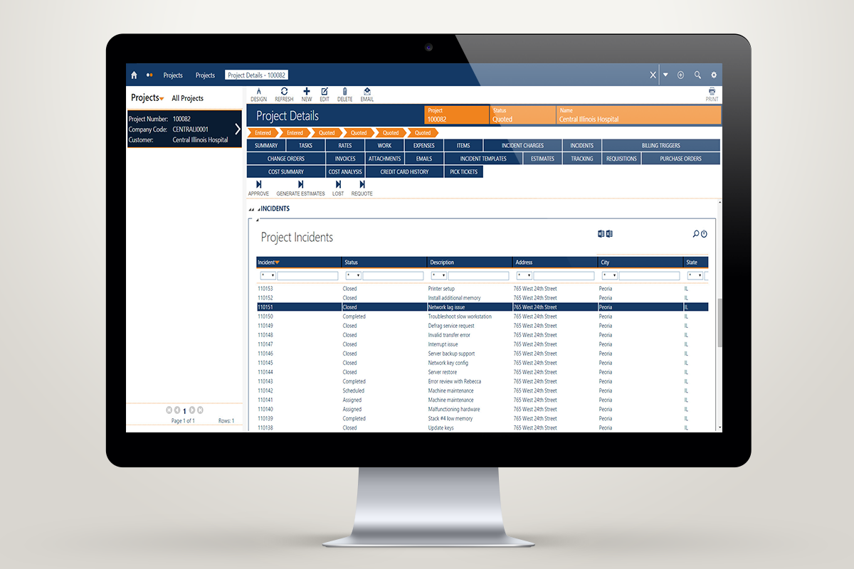 Combine complex jobs and tasks within the service process by adding service project installation orders