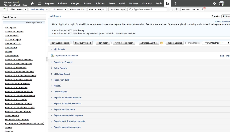 Access report folders