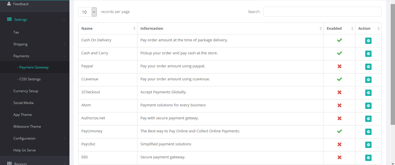 Quick eSelling payment settings