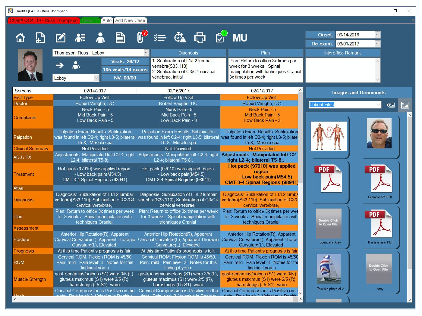 Chiro QuickCharts Software - Travel card view