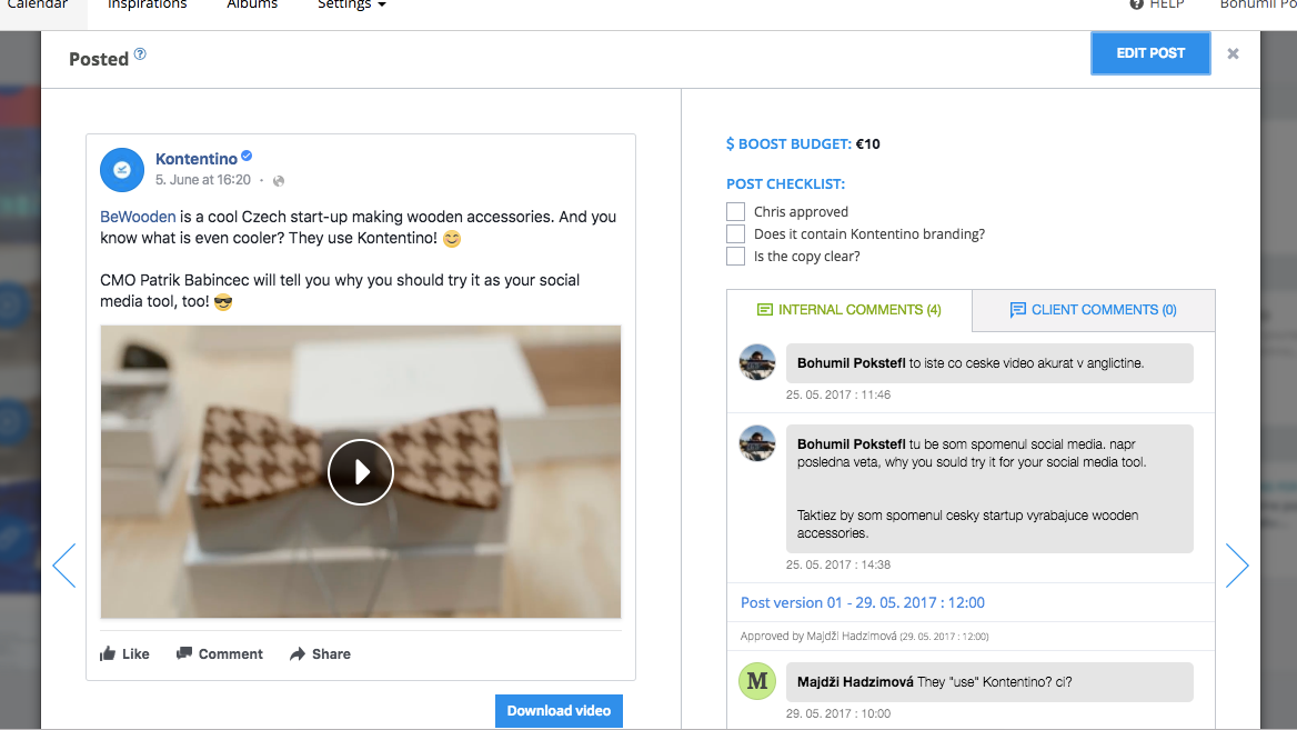 Post checklists, internal comments, and client comments are displayed next to the live post preview