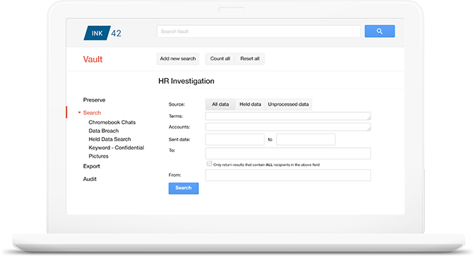 Manage, retain, search and export email and on-the-record chats with G Suite Vault