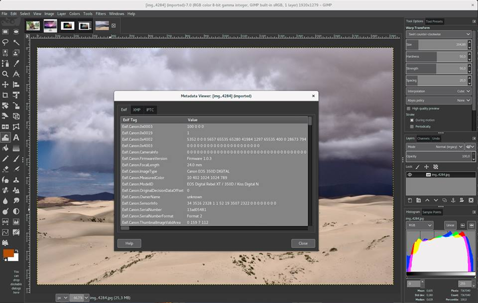 GIMP metadata viewer