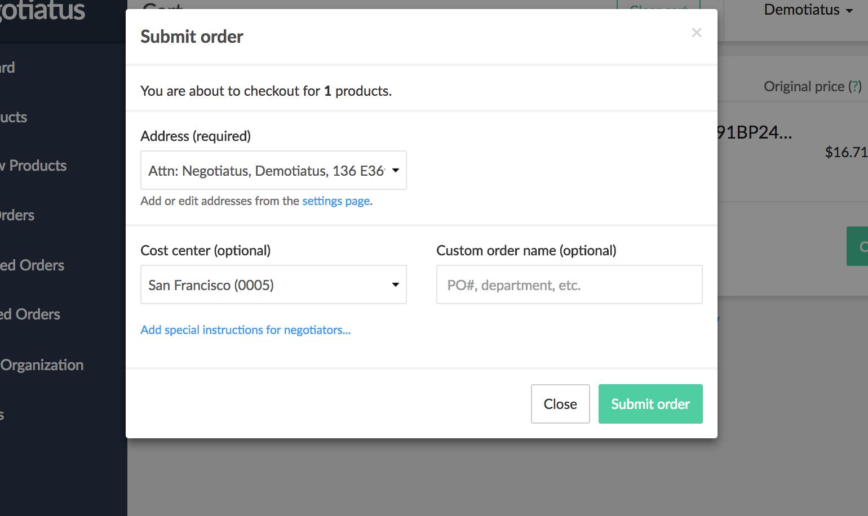 Negotiatus Software - Negotiatus order submission