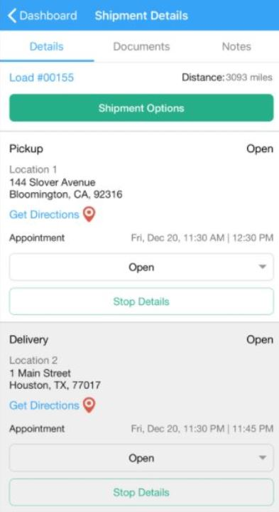 Smart TMS shipment details