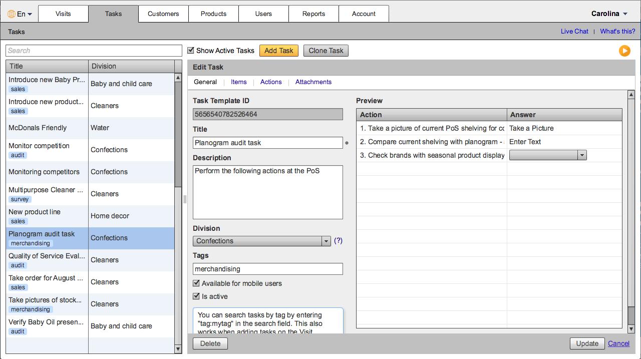 VisitBasis Software - Task manager