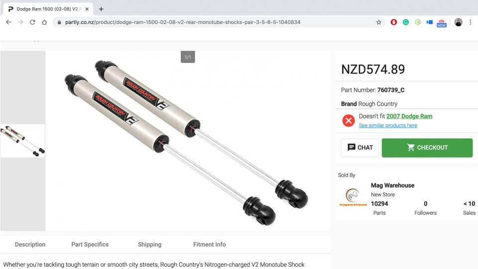 PartsPal product page