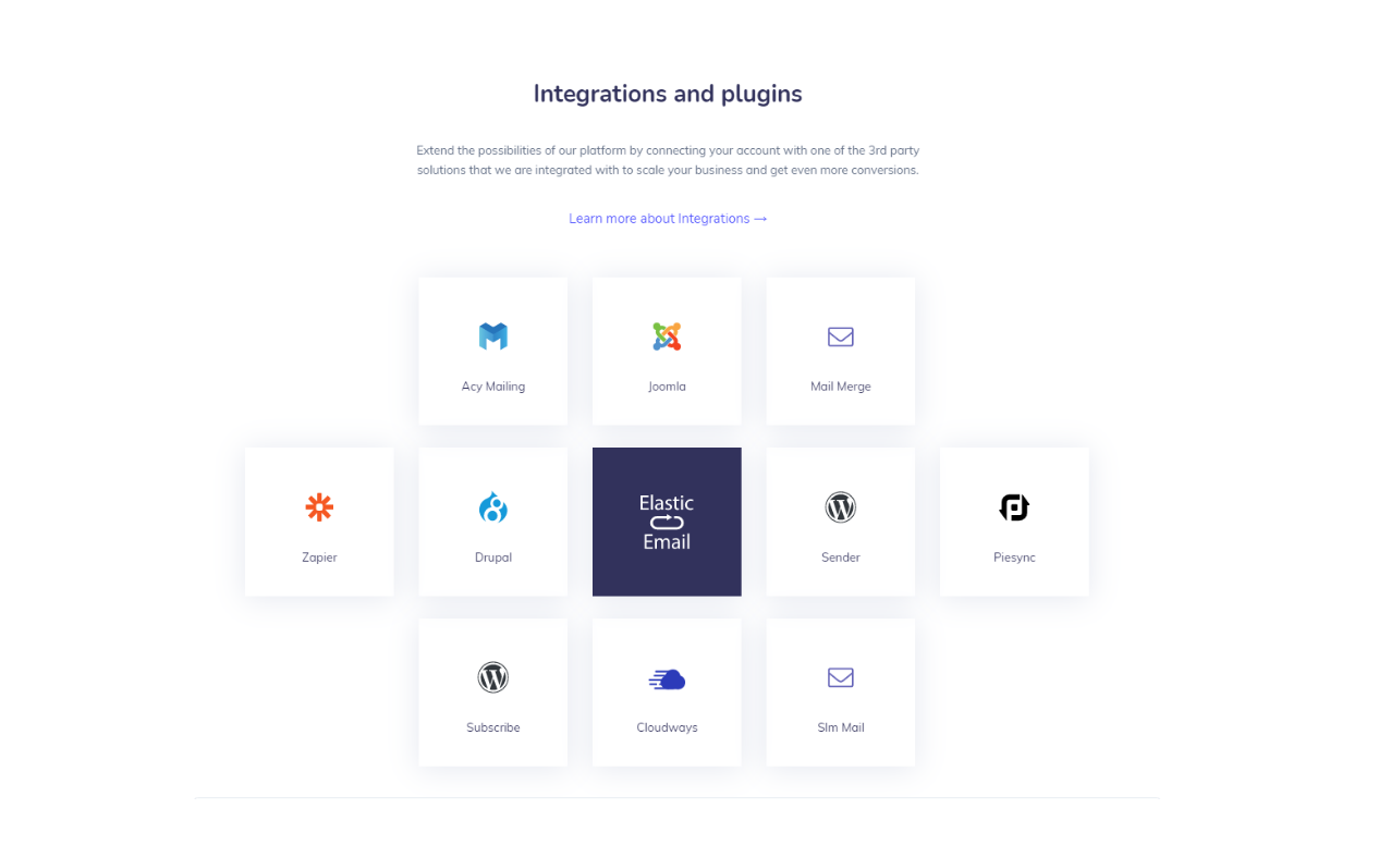 Discover Elastic Email plugins and 3rd party integrations that will help you maintain your contact lists, send emails in an even more efficient way and customize your experience with Elastic Email to fit your company's needs.