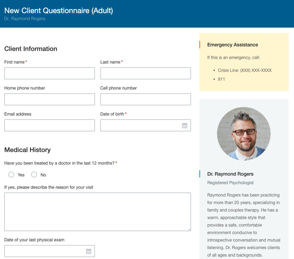 Hushmail client intake form