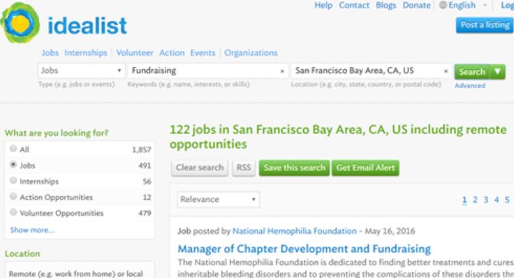 Idealist job search