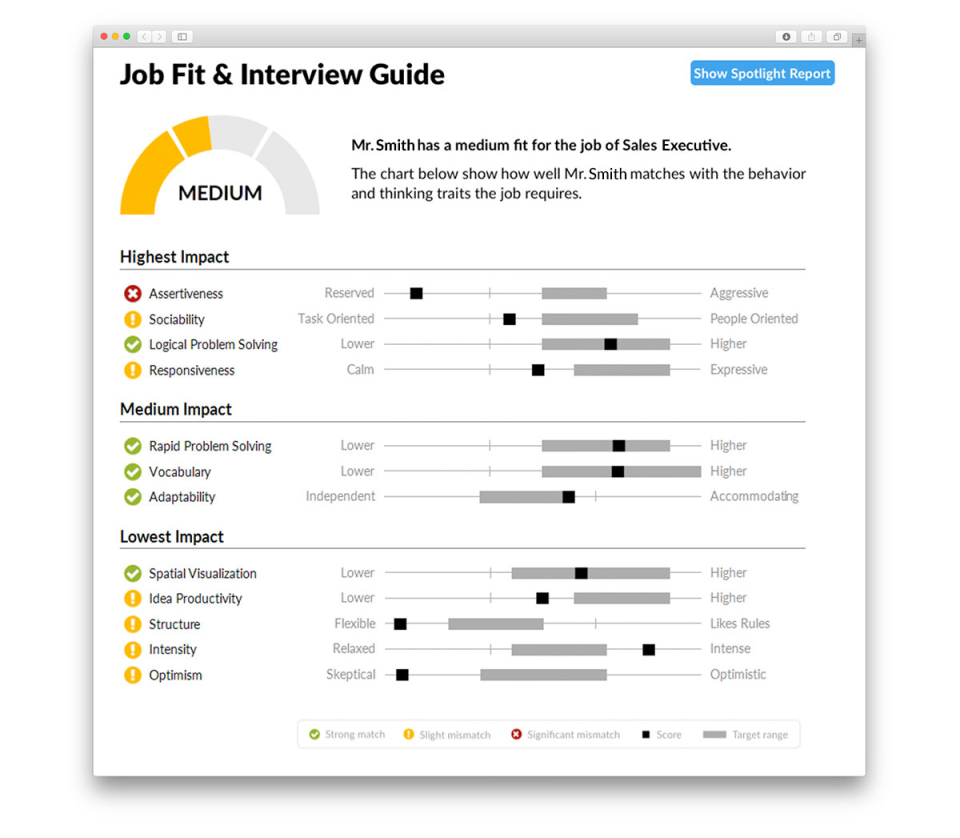 Berke screenshot: Job fit reports visualize how well candidates are likely to suit the job they have applied for