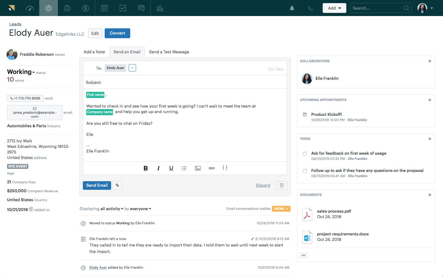Zendesk Sell Software - Zendesk Sell send emails