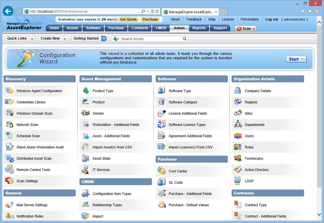 ManageEngine AssetExplorer admin page