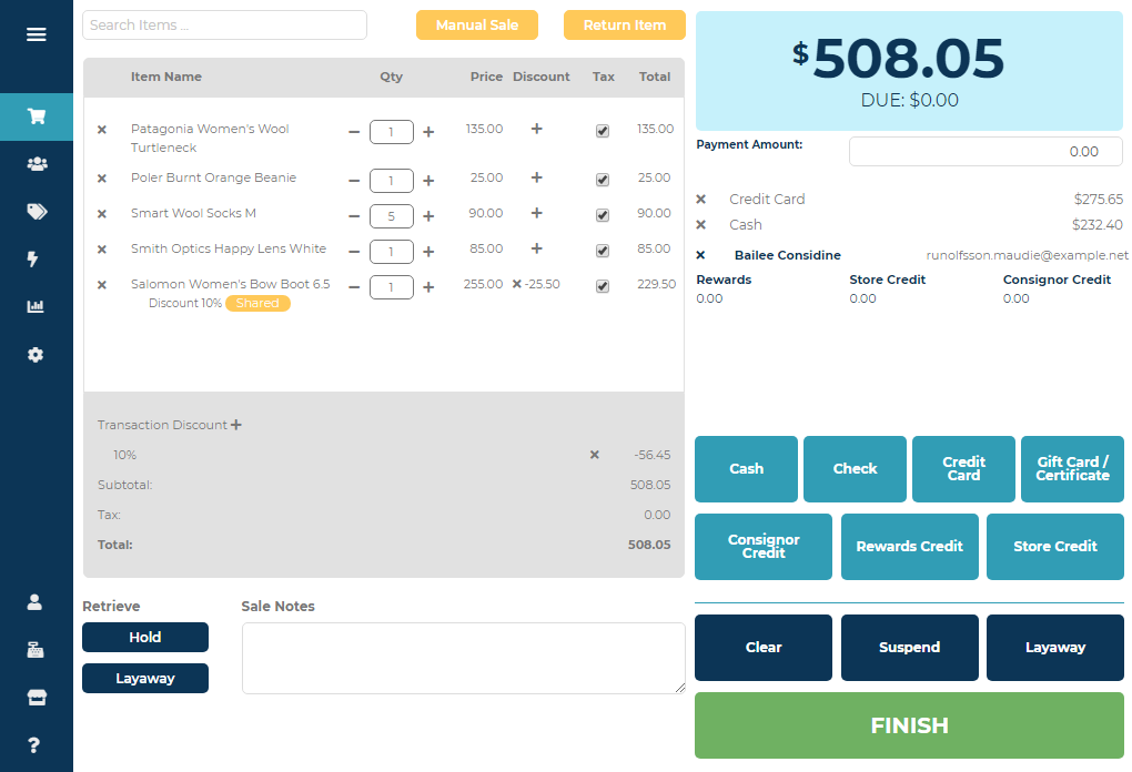 Ricochet screenshot: Elegant POS helps you find items, suspended sales, and layaway with ease.