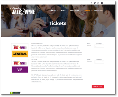 Ticket Sales pages that match your Website