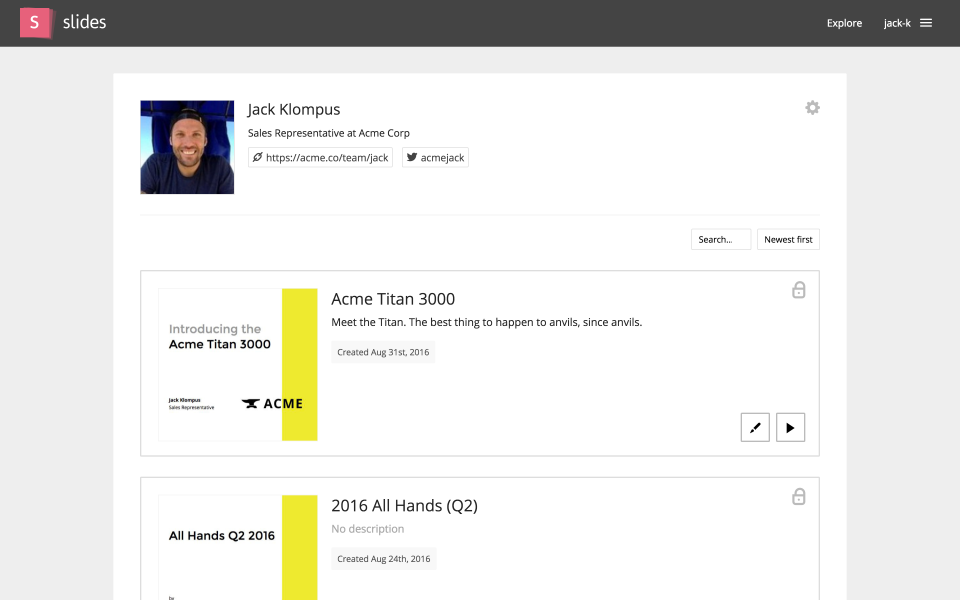 Slides Software - Profile page