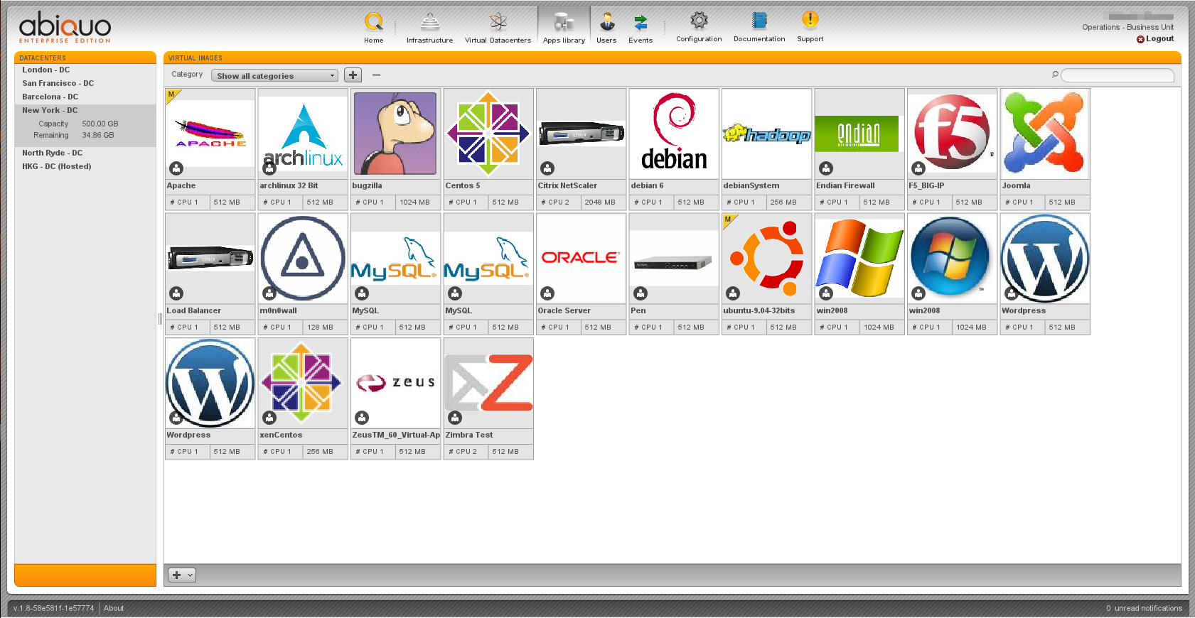 Abiquo anyCloud apps library