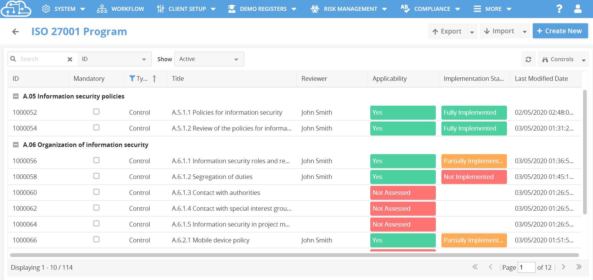 Cloudlines program register view