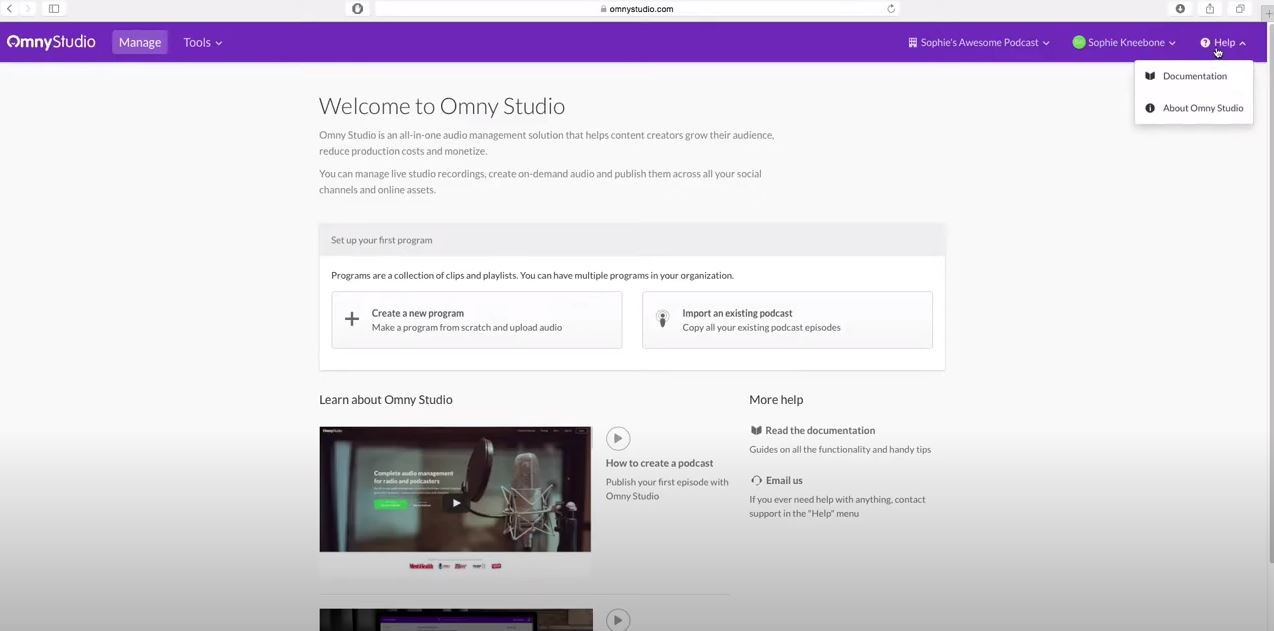 Omny Studio home page