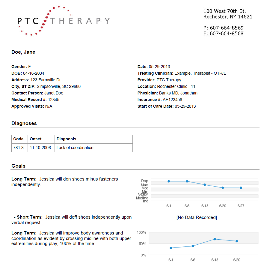 Automatically generate patient reports for patients, parents, and insurers