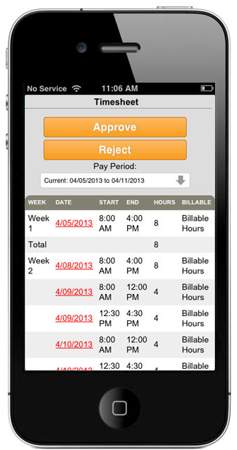 MobileHR Timesheet approval