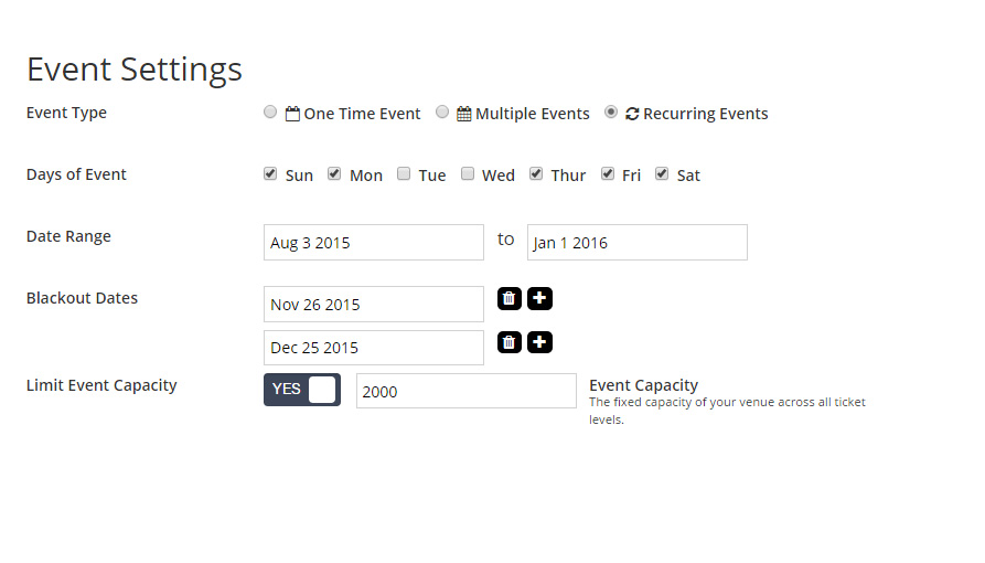TicketSpice allows users to set up one-off, recurring and multi-date events