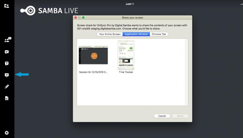 Samba Live screen sharing