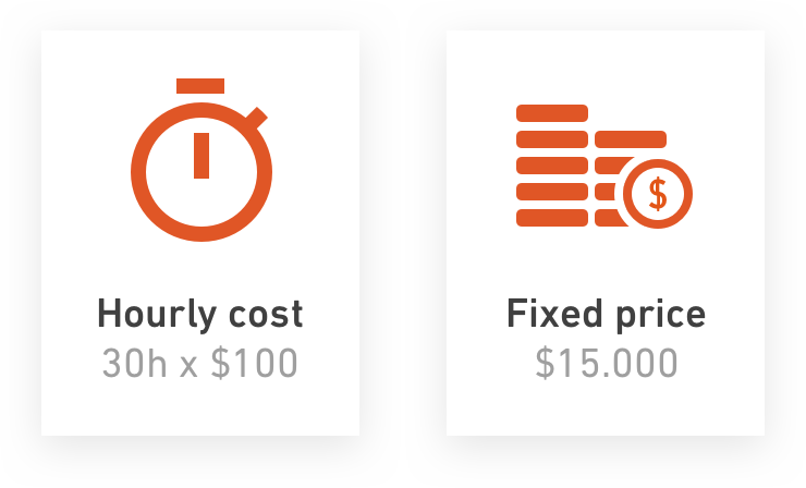 Productive allows fixed price or hourly (time and materials) projects to be run, or a mixture of the two types