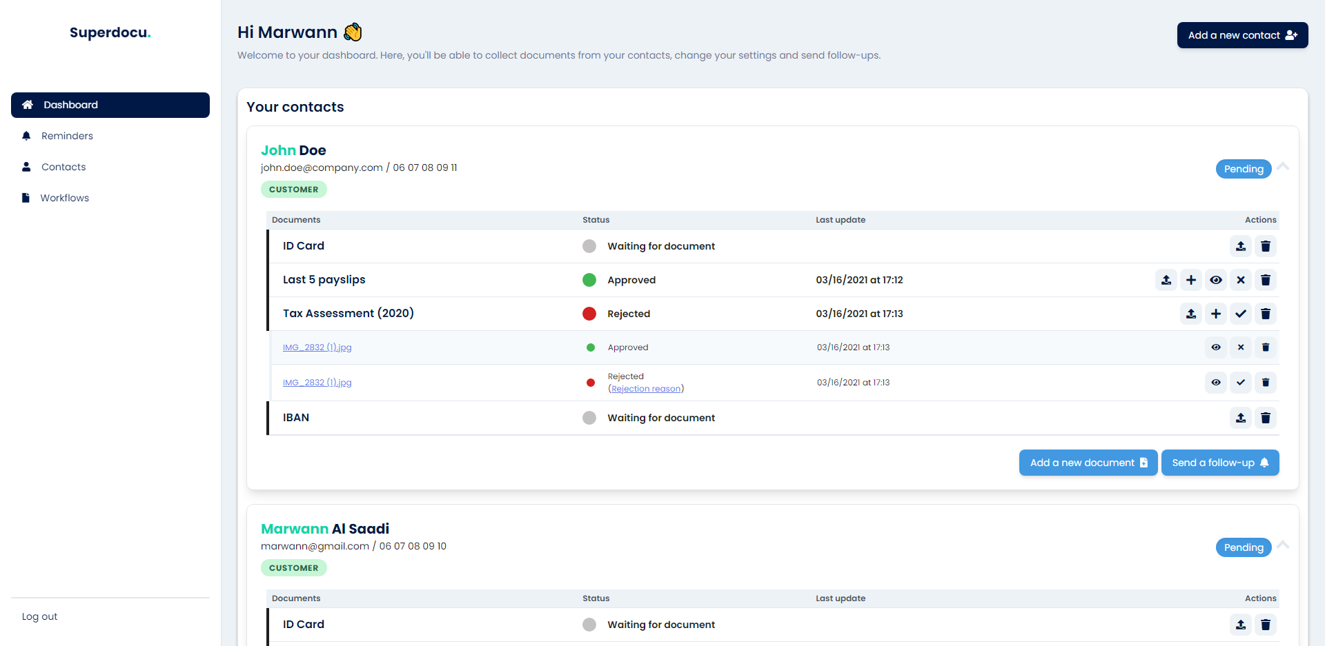 Superdocu dashboard: manage documents, contacts and request workflows in real-time