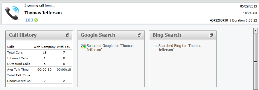 Vonage Business supports Google search and Bing search plugins