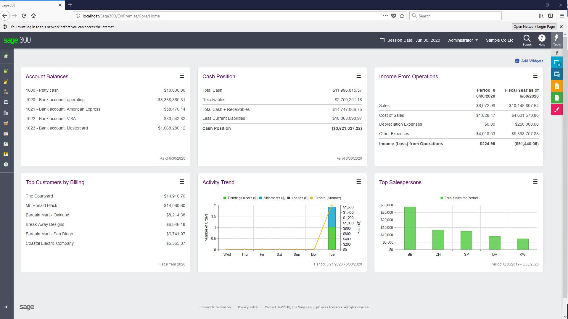 Sage 300cloud Software - Sage 300cloud account balances