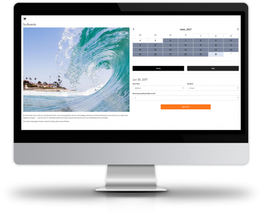 Administer equipment rentals from a centralized activity dashboard, with access to tools for inventory management, calendar-based reservation placing, package creation and sending out customer communications