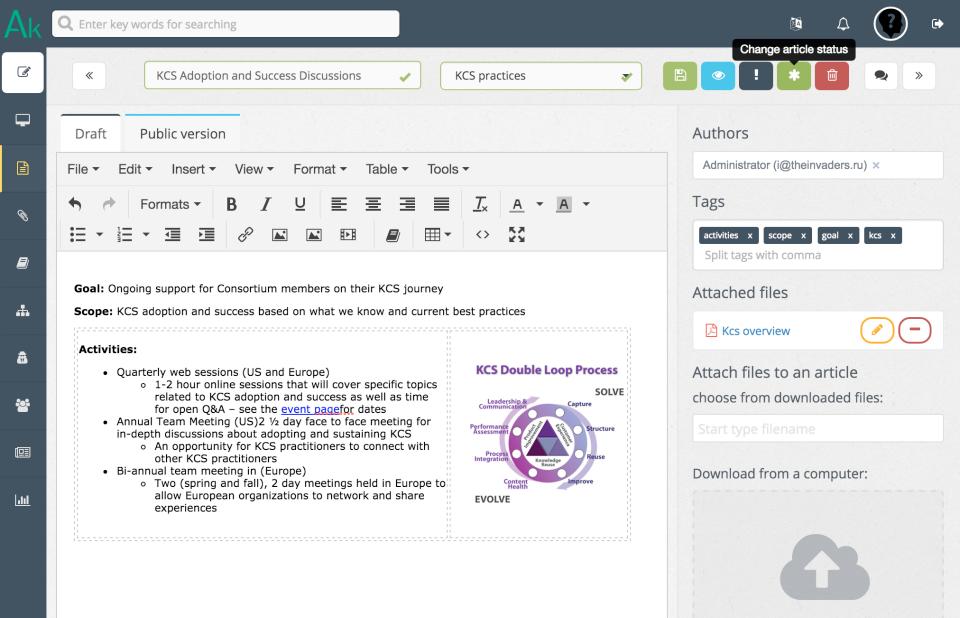 Create articles with user-friendly WYSIWYG editor