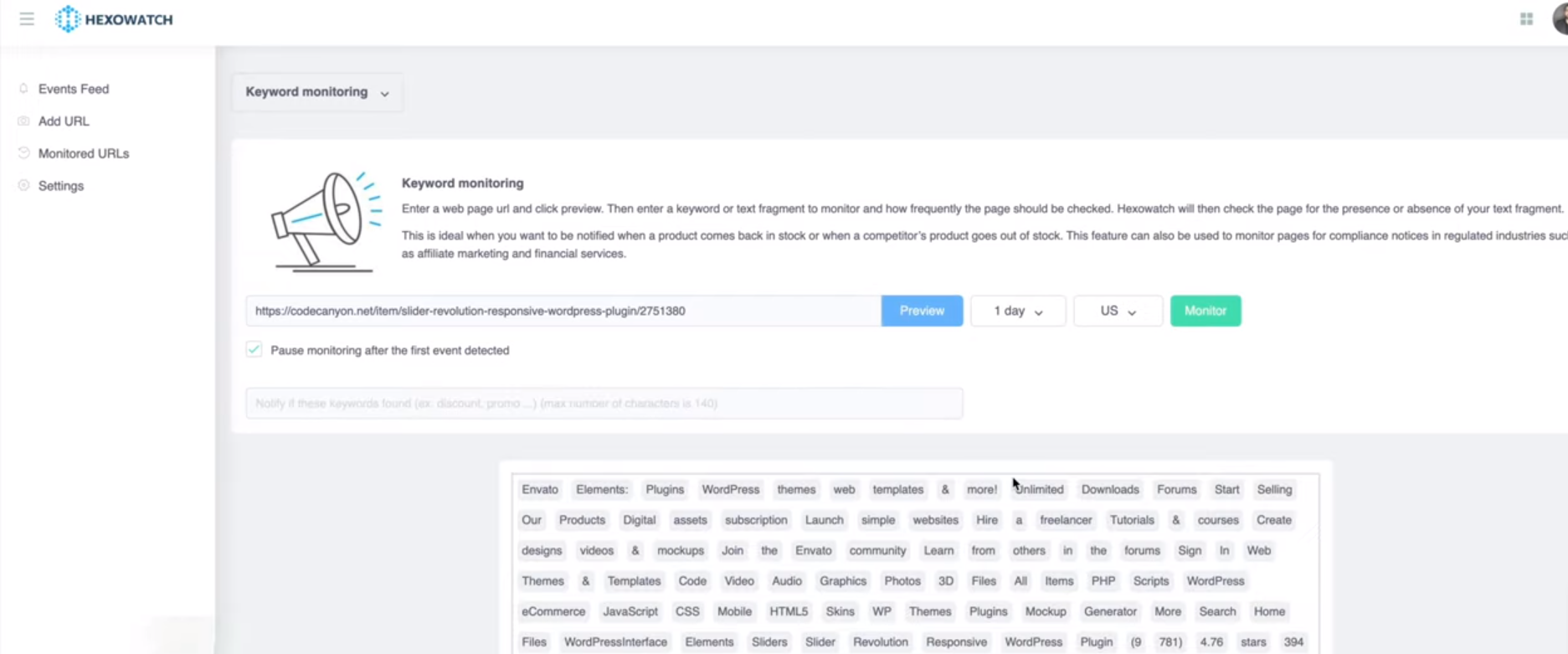 Hexowatch keyword monitoring