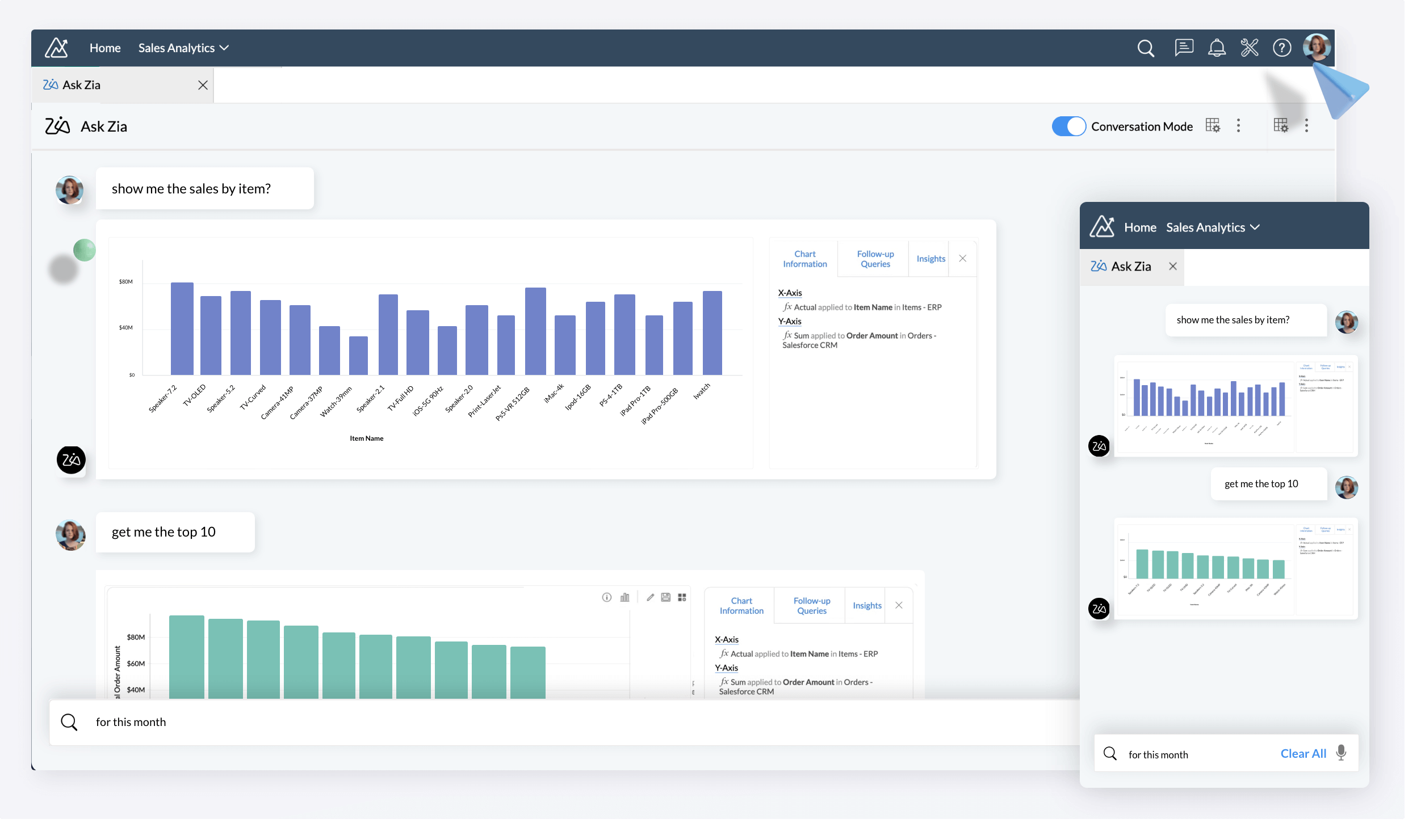 Zoho Analytics Software - Engage in colloquial conversations with Ask Zia, and get relevant reports as answers.