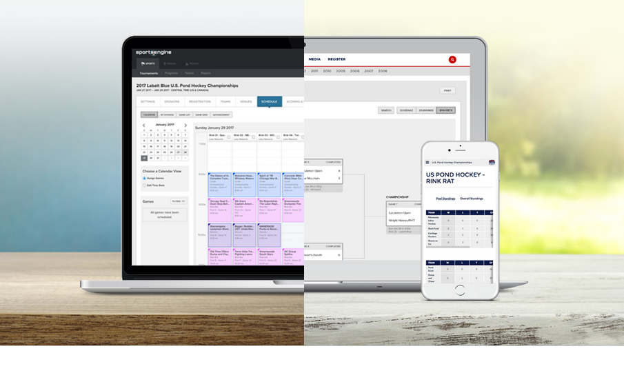 Tourney offers full tournament management, including calendar-based scheduling and a real-time team microsite for communicating updates