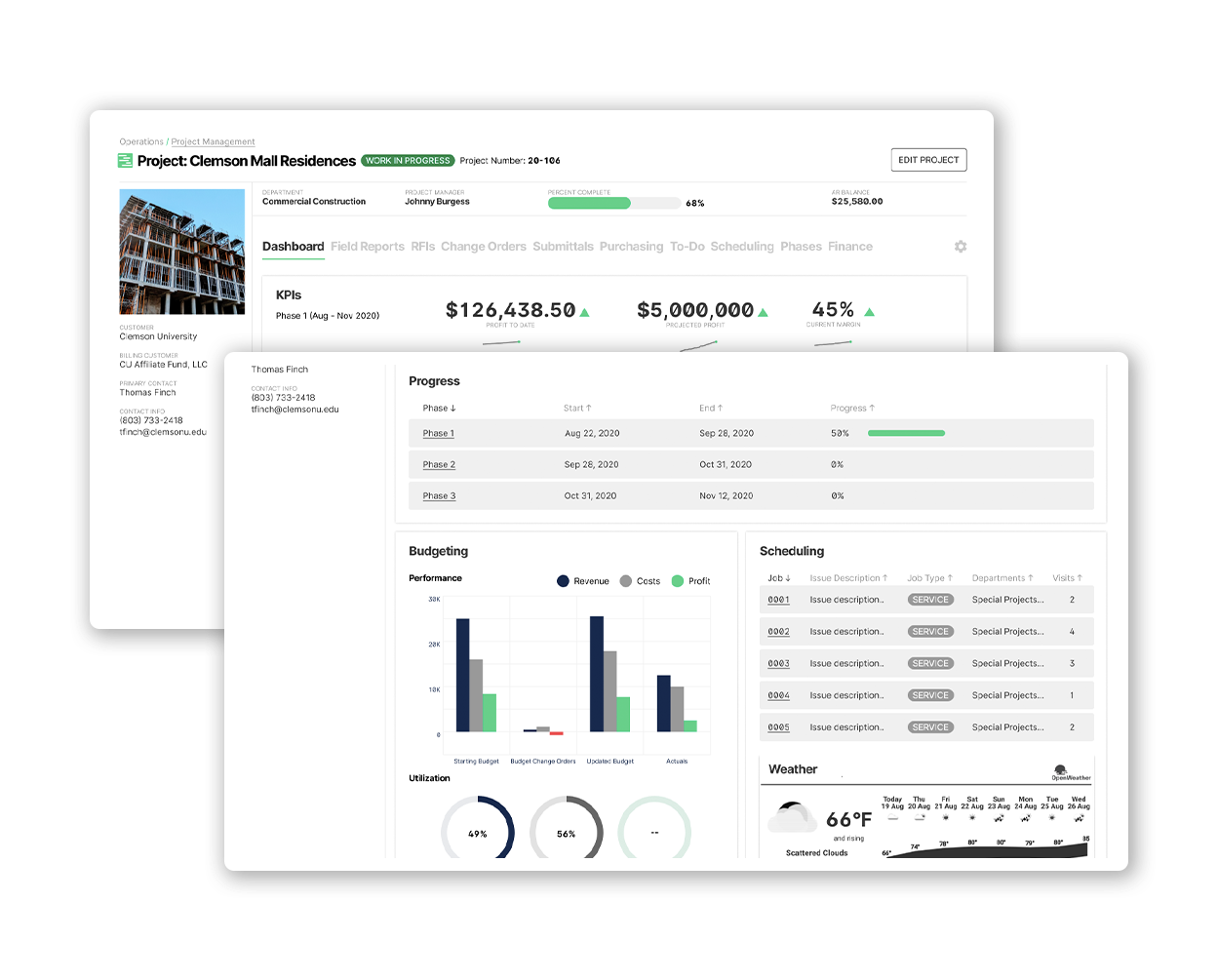 BuildOps Project Management: Deliver on schedule + within budget with full visibility into the critical KPIs (+ more): - Projected profit + profit to date - Margins - Budgeting, job costing + utilization amounts - Even the weather on location