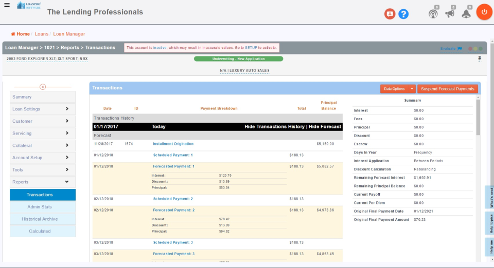 View a real-time breakdown of loan transactions