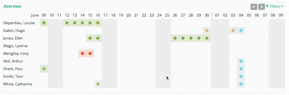 Availability and booked leave is updated in the calendar in real-time