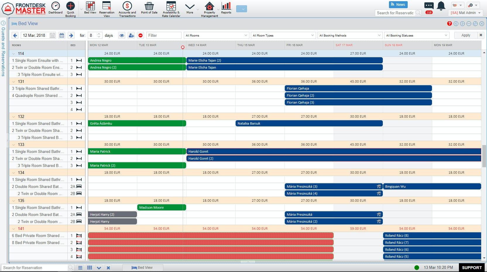 FrontDesk Master Software - Bedview calendar