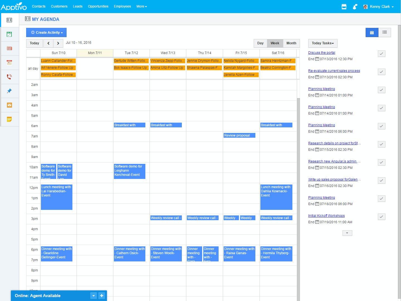 Apptivo Software - Apptivo agenda