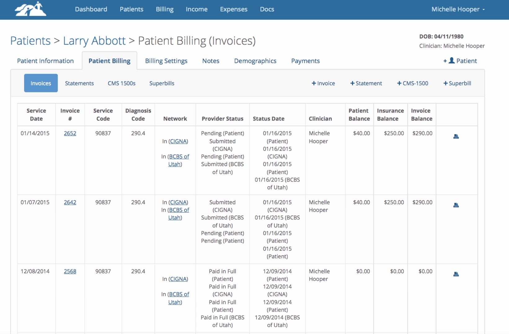TherapyMate patient billing (invoices)