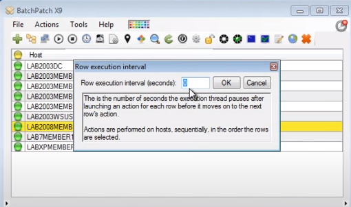 BatchPatch row execution interval