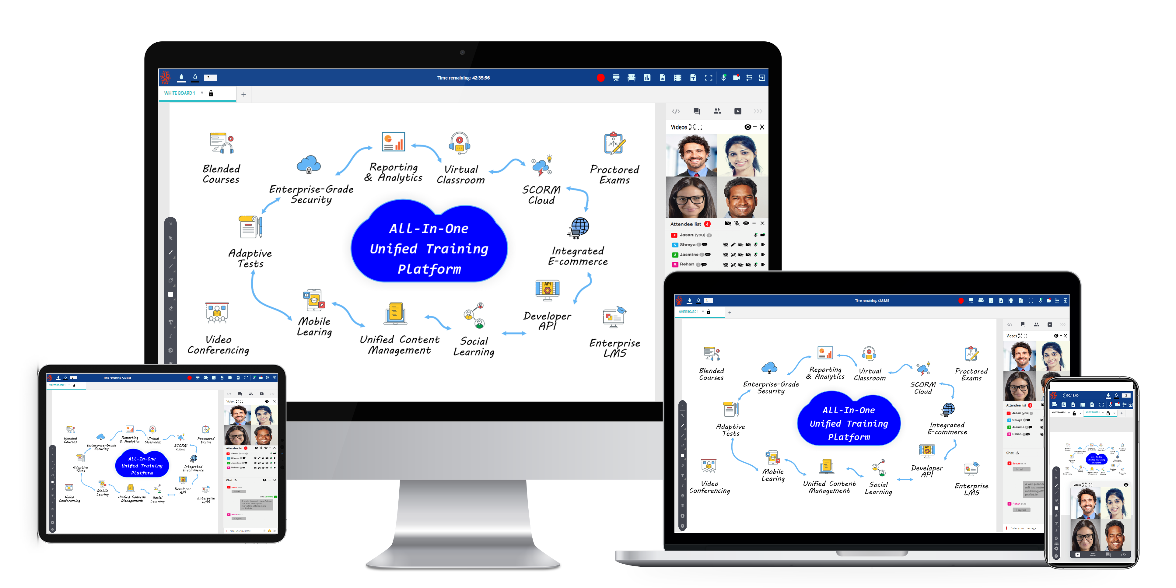 BrainCert's modern, clean and responsive LMS platform is optimized for almost any device - be it Mobile, Web or Tablet. Join live class sessions from Android and Apple iOS based devices
