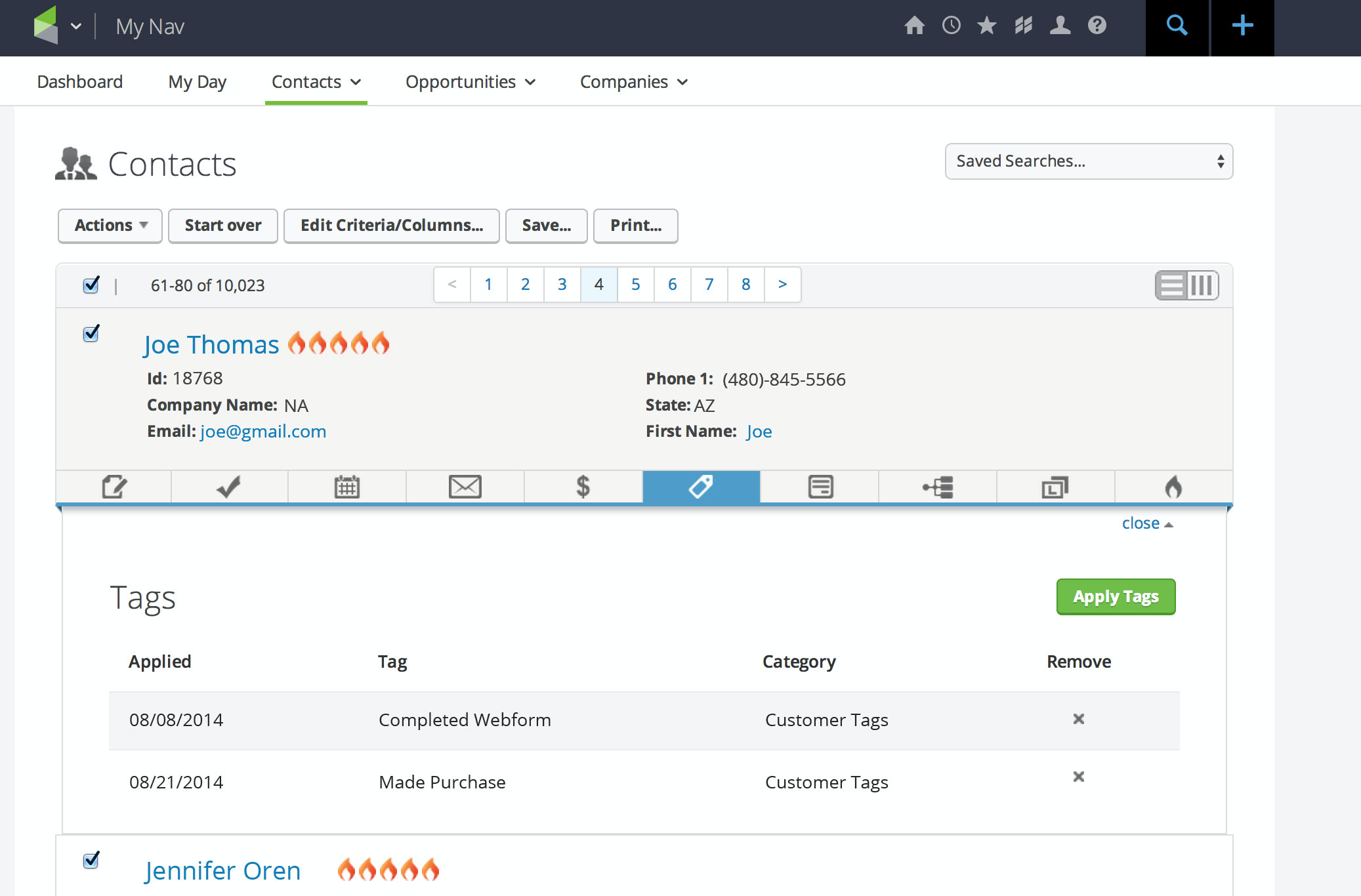 Contact records in Infusionsoft's CRM