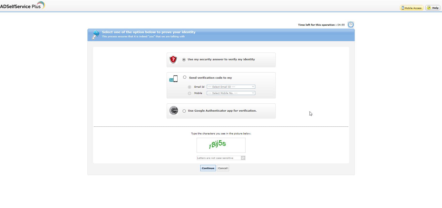 ADSelfService Plus Multi-factor authentication