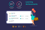 Learningbank screenshot: Our learning platform gamifies learning with achievements. Content is available on all devices focusing on giving the best experience anytime and anywhere it is needed.
